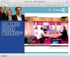ALLÔ DOCTEUR/ FRANCE 5; retrouvez jean Christophe BERLIN et le dr CYMES à propos du mal de dos dans Liens magazine_sant-_france_5_-jcb1-300x243